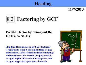 Holt Algebra 8.2 Factoring by GCF PPT