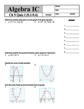 Holt Algebra Ch. 9 Quiz I (9.1-9.4) Quadratic Equations &