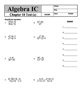 """Holt Algebra Chapter 10 """"Rational Functions & Equations"""" T"""