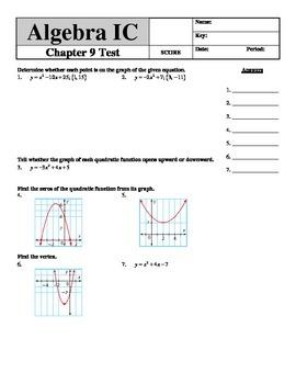 """Holt Algebra Chapter 9 """"Quadratic Functions & Equations"""" T"""