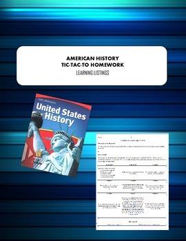 Holt McDougal United States History Choice Homework Board