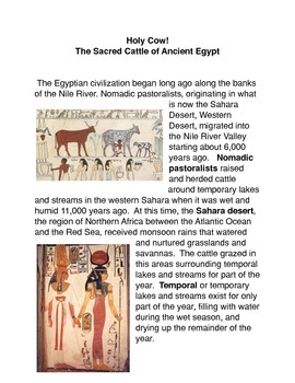 Holy Cow! The Sacred Cattle of Ancient Egypt Common Core a