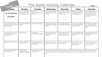 Home Calendar Activities October