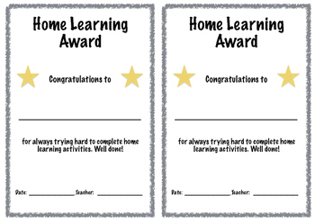 Home Learning Certificate