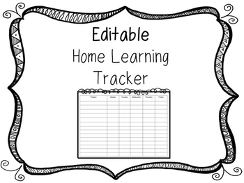 Editable Home Learning Tracker