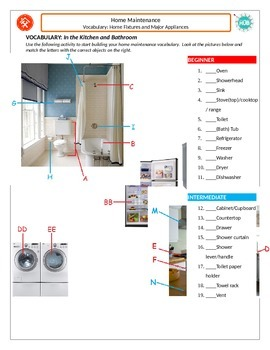 Home Maintenance: Vocabulary_Bathroom and Kitchen Home Fix