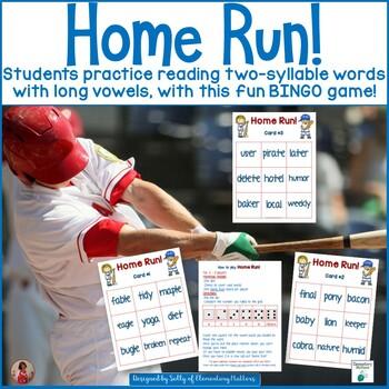 Two Syllable Words: Baseball Themed BINGO Game