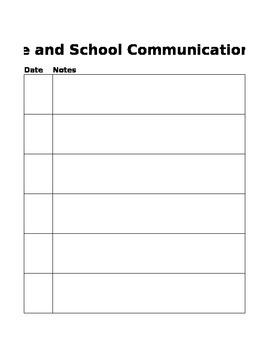 Home & School Communication Log