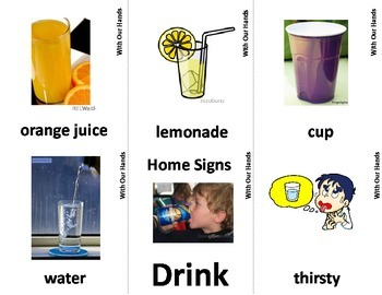 Home Series: Drink Sign Language (ASL) Vocabulary Cards