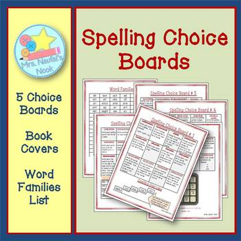 Spelling Choice Boards - Printable Choice Boards, Book Cov