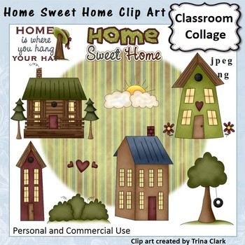 Home Sweet Home Clip Art - Color - personal & commercial use