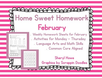 Kindergarten Homework: February Home Sweet Homework