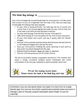 Home reading program note