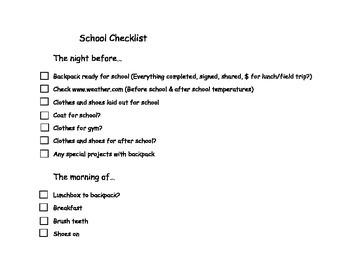 Home to School Student Organization checklist