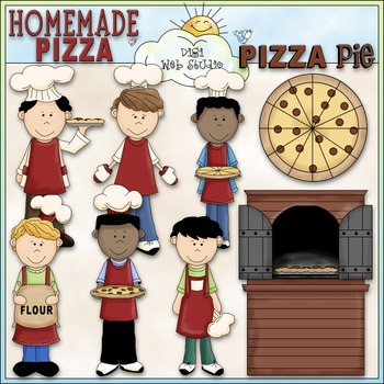 Homemade Pizza Boys Clip Art - Pizza Clip Art - CU Clip Art & B&W