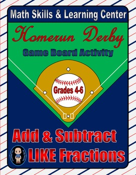 Baseball Math Skills & Learning Center (Add & Subtract Lik