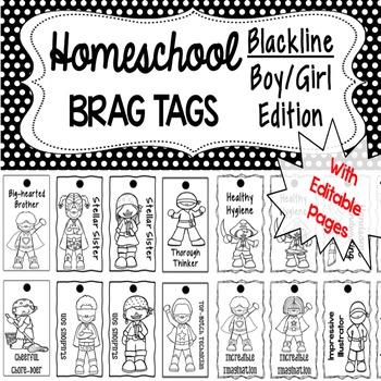 Homeschool Brag Tags with Editable Pages - Blackline BOY/G