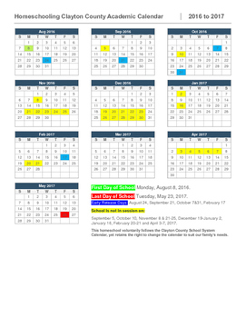 Homeschool Calendar-Clayton County, Georgia
