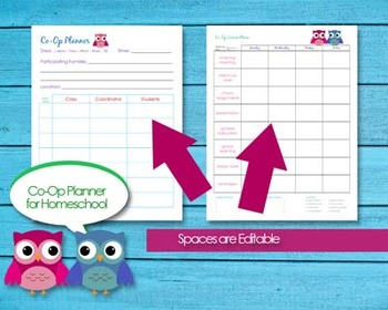 Homeschool Co-Op Editable Planner Printable