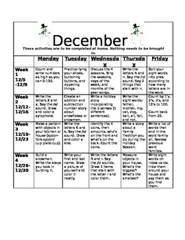 Homework Activities for Kindergarten during December