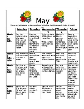 Homework Activities for Kindergarten during May