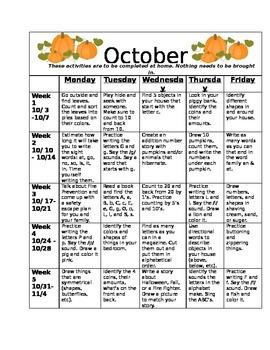 Homework Activities for Kindergarten during October