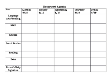 Homework Agenda Page