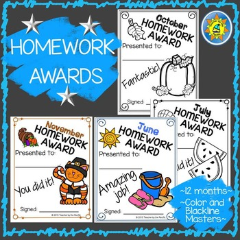 Monthly Homework Awards for the Entire Year