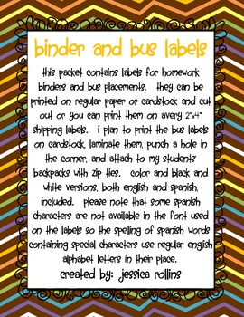 Homework Binder (or Folder) Labels & Bus Labels - English