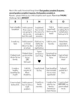 Homework Bingo Sheet - Test Prep