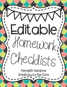 Homework Checklists *EDITABLE*