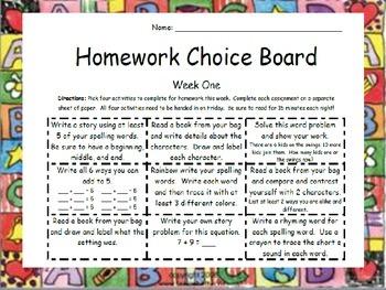 Homework Choice-Board Packet
