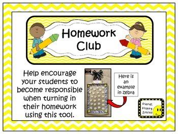 Homework Club in Yellow Chevron Print with Pencil