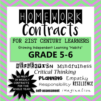 Homework Contracts for 21st Century Learners - Grade 5-6 W