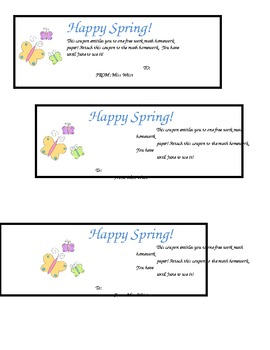 Homework Coupon- Happy Spring!  FREEBIE