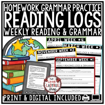 Homework Reading Logs 3rd Grade, 4th Grade, & 5th Grade