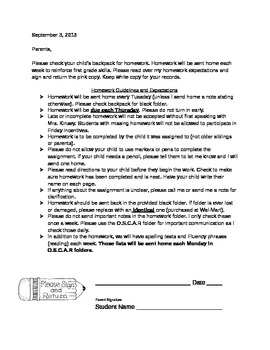 Homework Expectations letter to parents