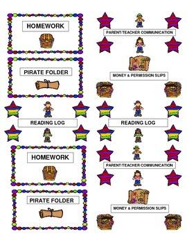Homework Folder Labels Pirate Theme