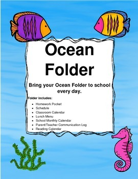 Homework Folder Sheets Ocean Theme