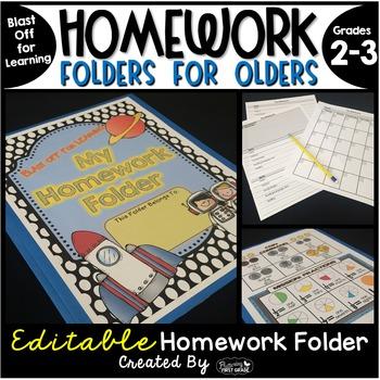 Homework Folder for Olders Editable - Space Theme {Blast O