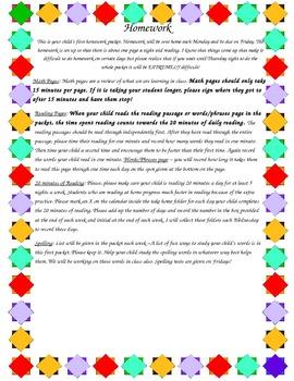 Homework Letter Home