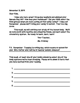 Homework Letters & Frames: Writing to your Students