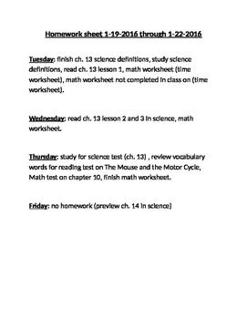 Homework Log (sheet)