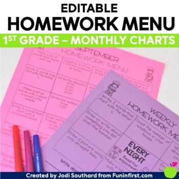 Homework Menus - Monthly Charts {EDITABLE} 1st Grade