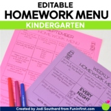 Homework Menus for the Entire Year {EDITABLE} Kindergarten