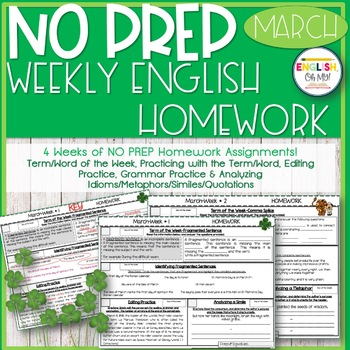 NO PREP Homework {March}:Idioms, Quotations, Words in Cont