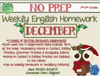 NO PREP Homework {December}: Idioms, Quotations, Words in