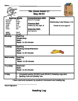 Homework Packet Cover Sheet and Reading Log