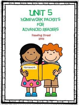 Homework Packet for Advanced Readers, Unit 5, 2008 Reading Street