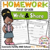 Homework Packet for First Grade: Write & Share {CCSS}